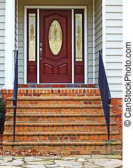 a, 磚, satirway, 入口, 到, a, 美麗, 木制, 以及, 蝕刻, 玻璃, 前門, ......的, a, 現代, 乙烯基, 站在, 大農場, 房子, 由于, 房間, 為, 你, text.