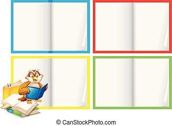 a, 空白の本, テンプレート, ∥で∥, フクロウ