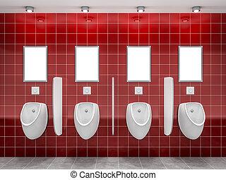 a, 紅色, 公開 休息室, 由于, 四, 尿壺