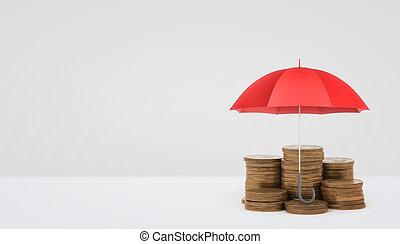 a, 紅色, 打開傘, 垂直, 安置, 在上方, 一些, 堆, ......的, 黃金, 硬幣, 在懷特上, 背景。