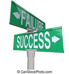 a, 綠色, 雙向, 路牌, 指向, 成功, 以及, 失敗, symbolizing, 是, 在一個十字路口, 以及, 決定, 在之間, a, 好和坏, 結果, 或者, 命運