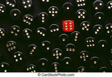 a, 红, 骰子, 显示, 六