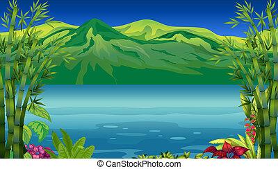 a, 美しい, 川, そして, 山