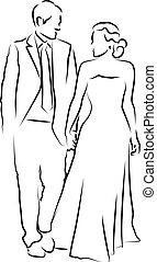 a, 花嫁と花婿, 上に, ∥(彼・それ)ら∥, 結婚式