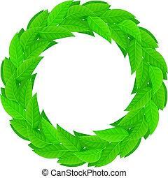 a, 花輪, の, 緑は 去る