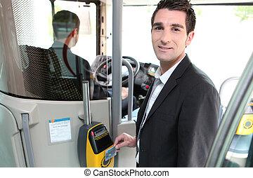 a, 若い, コントローラー, 中に, a, bus.
