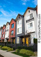a, 行, 在中, 新, 房产, townhouses, 或者, condominiums.