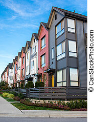 a, 行, ......的, 新, 房地產, townhouses, 或者, condominiums.