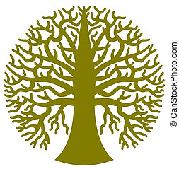 a, 被風格化, 輪, 樹