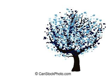 a, 装飾用である, ベクトル, 愛, 木