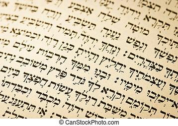 a, 西伯來 文本, 從, an, 老, 猶太, 祈禱書