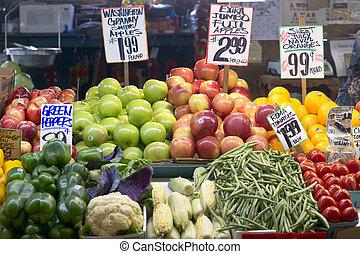 a, 賣主, 顯示, 她, 食物, 生產, 在, the, 梭子魚, 地方, 公開市場, 在, seattle