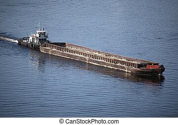 a, 輸送, 船, 浮く, 上に, ∥, 川