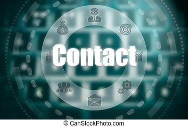 a, 連絡, 概念, 上に, a, 未来派, コンピュータ, ディスプレイ, 上に, a, blured, イメージ,...