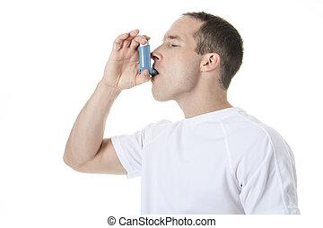 a, 運動, 人, 使用, a, 哮喘, 泵