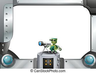 a, 金属, フレーム, ∥で∥, a, ロボット, そして, a, 望遠鏡