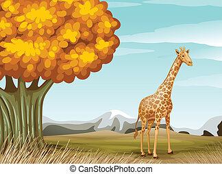 a, 長頸鹿, 近, the, 大的樹