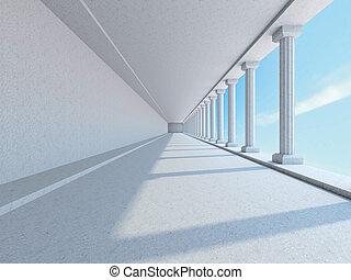 a, 長, 走廊