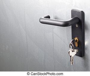 a, 門把手, 由于, 鎖, 以及, 鑰匙