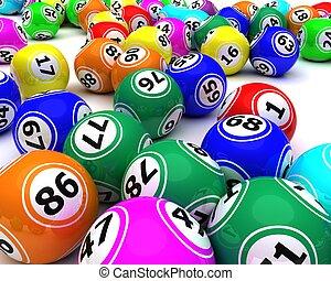 a, 集合, ......的, colouored, 排五點紙牌, 球