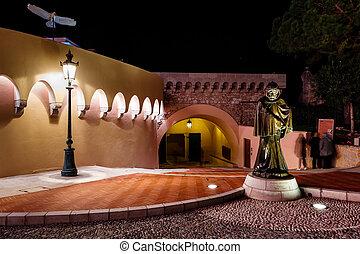 a, 雕像, ......的, grimaldi, 假裝, 如, a, 僧侶, 以前, the, prince's, 宮殿, ......的, 摩納哥
