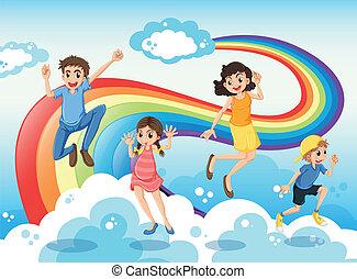 a, 高興的家庭, 近, 彩虹