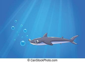 a, 鯊魚, 在下面, the, 海