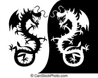 a, 黑色半面畫像, ......的, a, dragon.
