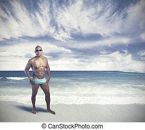 a, 黒い 人, 上に, 熱帯 浜