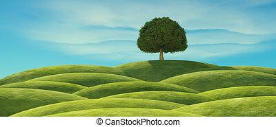 a, 나무, 와, 녹색은 떠난다