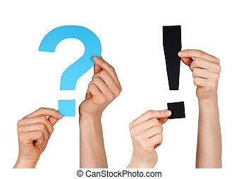 a, 물음표, 와..., 자형의 것, 질문, 표
