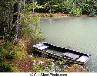 a, 보트, 통하고 있는, 내려가다, dewey, 호수
