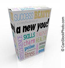 a, 새로운, 당신, -, 제품, 상자, 파는 것, 순간, 자기 계발, 진보