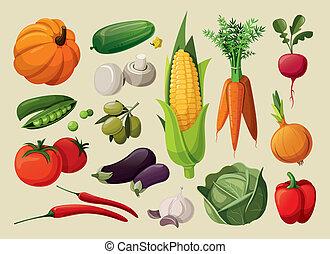 a, 세트, 의, 상쾌한, vegetables.