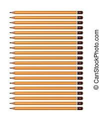 a, 세트, 의, 황색, 연필, 의, 여러 가지이다, hardness., 벡터, 백색에심상, 배경.