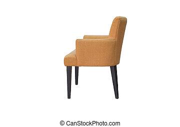 a, 스튜디오 탄, 의, 안락 의자, 고립된, 백색 위에서, 배경