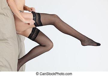 a, 여백을 잘라버리게 된다, 그림, 의, a, 여자, legs.