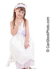 a, 초상, 의, a, 쾌활한, 어린 소녀, 통하고 있는, 그만큼, 백색 배경