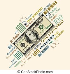 A 100 dollar bill typographic desig