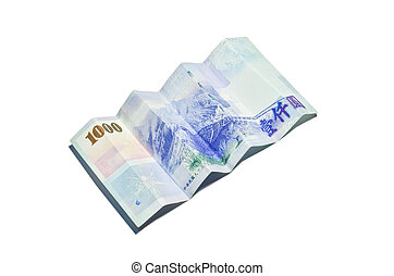 A 1000 New Taiwan Dollars bill on white background