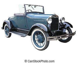 A 1928 Ford Model A Roadster isolated with clipping path