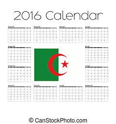 2016 Calendar with the Flag of Algeria