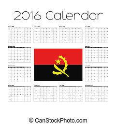 2016 Calendar with the Flag of Angola