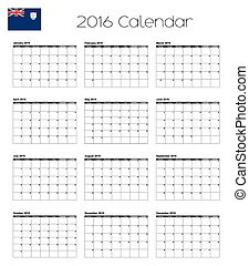 2016 Calendar with the Flag of Anguilla