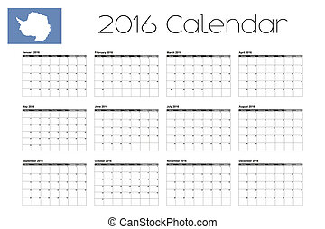 2016 Calendar with the Flag of Antartica - A 2016 Calendar...