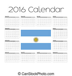 2016 Calendar with the Flag of Argentina