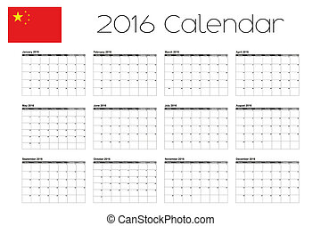 2016 calendar with the flag of china - Chinese New Year 2016 Calendar