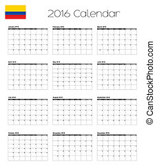 2016 Calendar with the Flag of Colombia
