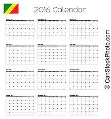 2016 Calendar with the Flag of Congo
