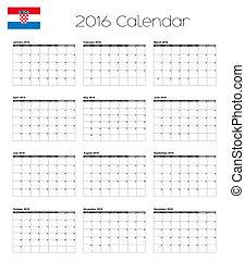 2016 Calendar with the Flag of Croatia